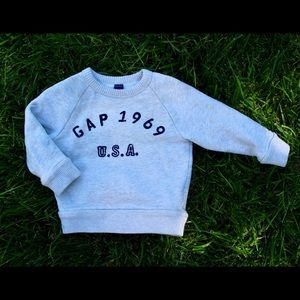 GAP Shirts & Tops - Baby Gap Oatmeal Sweatshirt with Navy Lettering